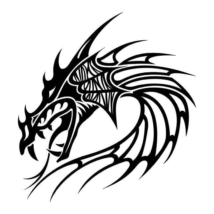 Most Beautiful Tribal Dragon Face Tattoo Design For Boys
