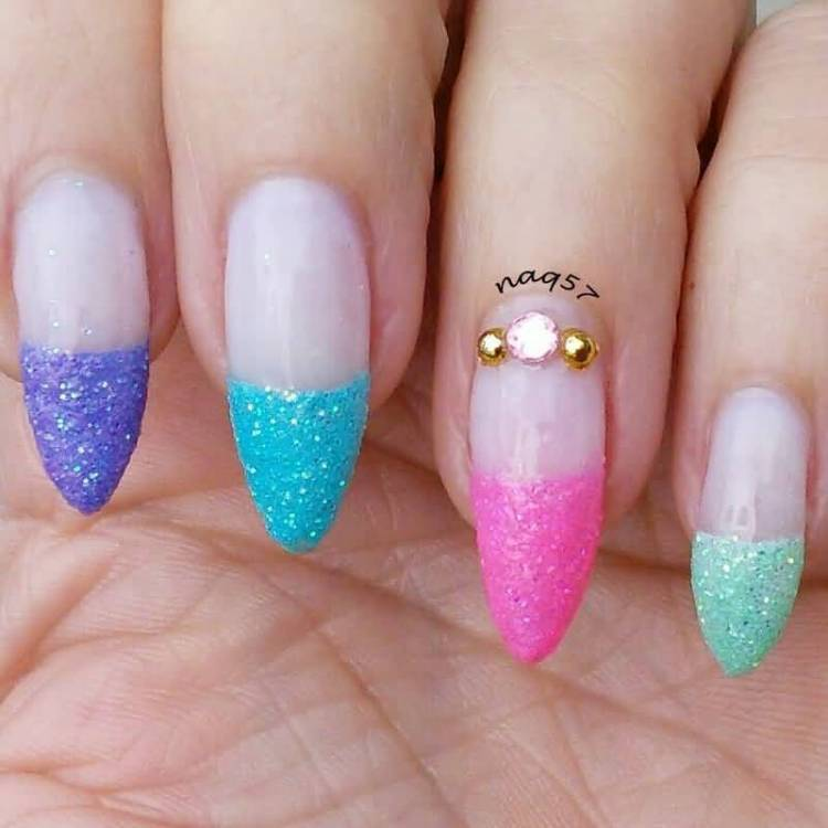 Most Cutest Blue Nail Art With Ring Design