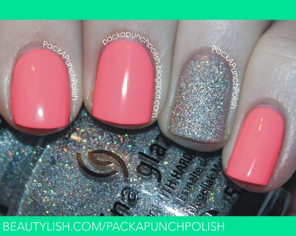 Most Cutest Pink And Silver Glitter Accent Nail Art