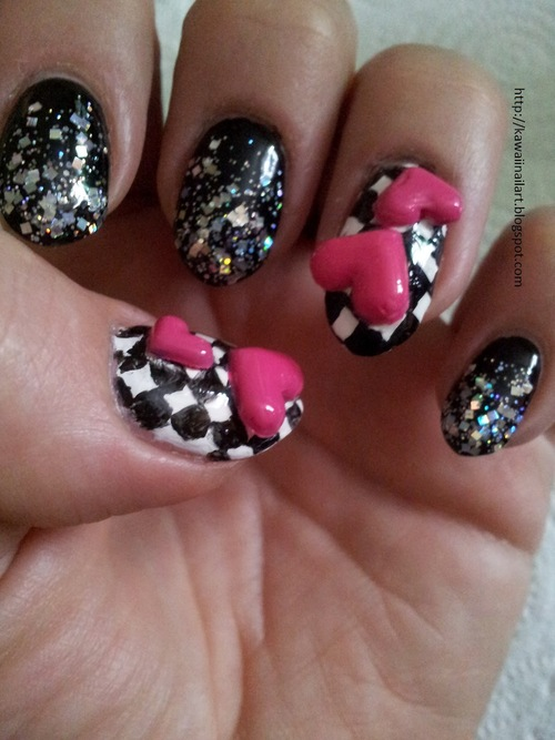 Most Fabulous Black And White Crystal 3D Nail Art 3D Nail Art