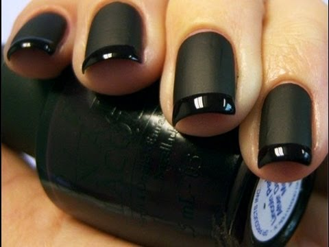 Most Fabulous Black Matte Nails With Black Color Tip