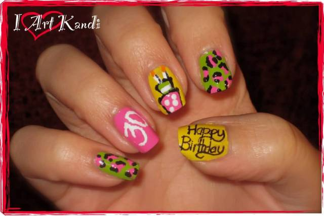 Most Fabulous Different Color With Birthday Cakes Birthday Nails