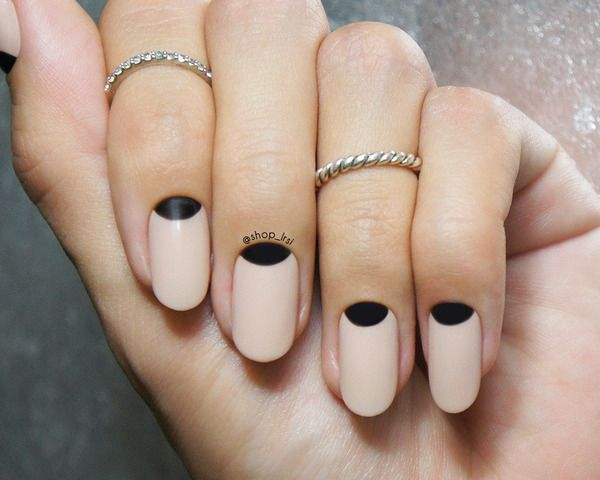 Most Fantastic Black Half Moon Nail With Pink Nails