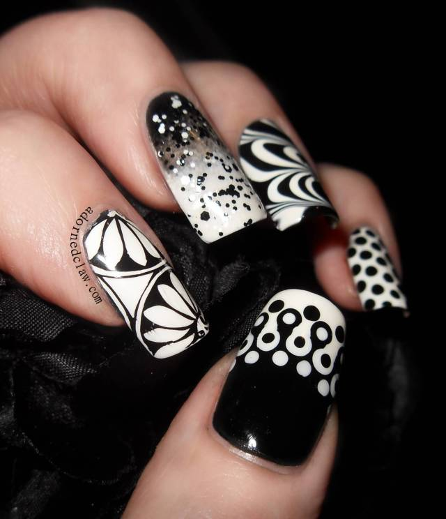 Most Greatest Black And White Nails With 4 Different Design