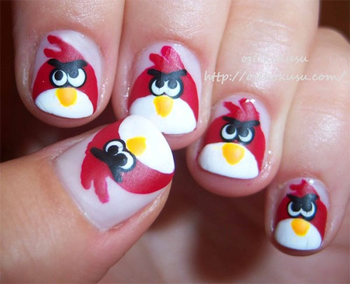 Most Incredible Angry Birds Design With Fantastic Angry Bird Nail Art Design