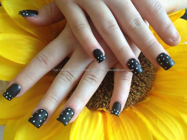 Most Incredible Black And White Polka Dot Nail Art With Short Nails