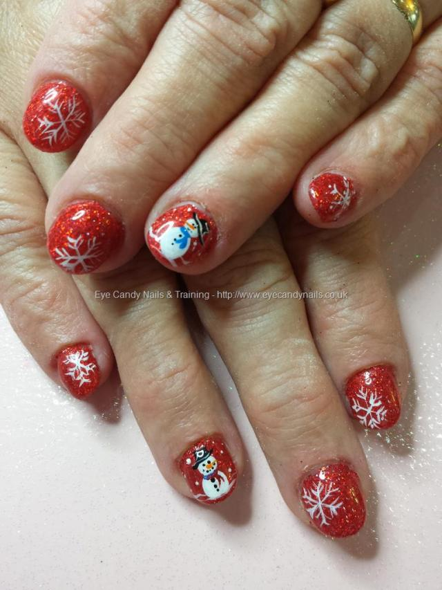 Most Phenomenal Snow Man Acrylic Short Nail Design