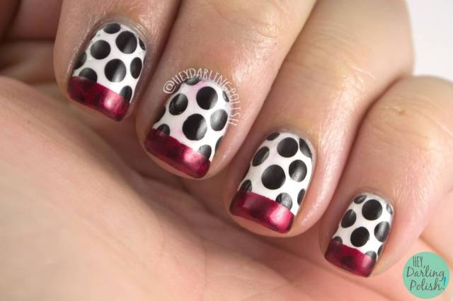 Most Phenomenal Black And White Polka Dot Nail Art With Red Tips