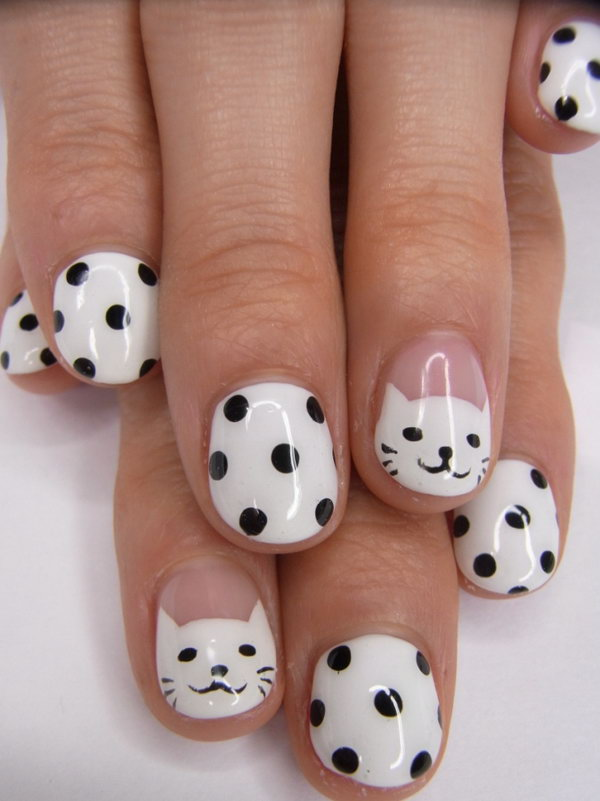 Most Stunning Black And White Polka Dot Nail Art With kitty Design