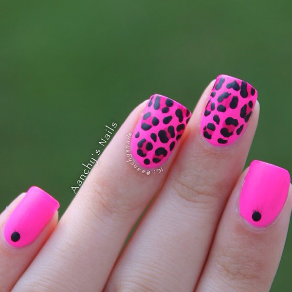 Most Tremendous Black And Pink Nails With Leopard Print