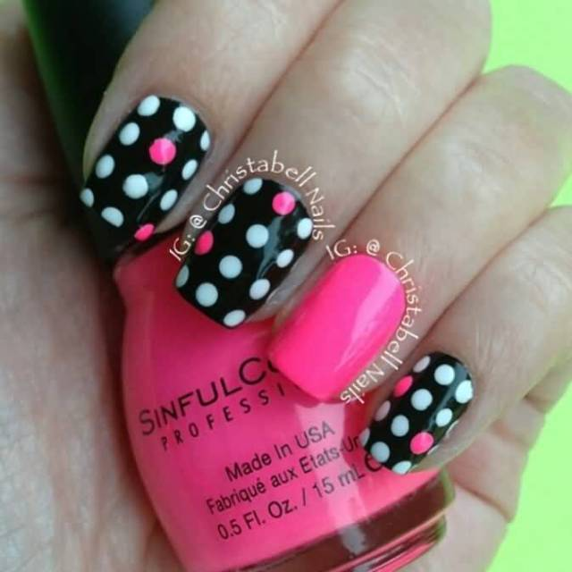 Most Tremendous Black And White Polka Dot Nail Art With One Pink Paint