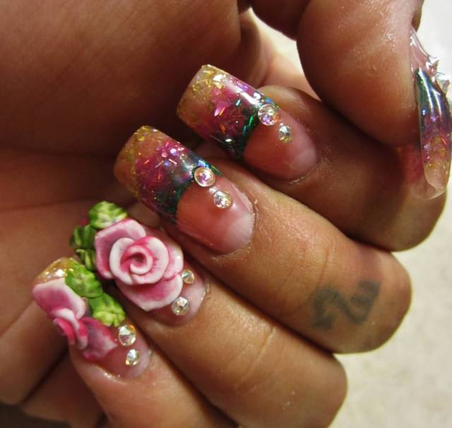 Most Trending Crystal Color 3D Rose Flower Nail Art