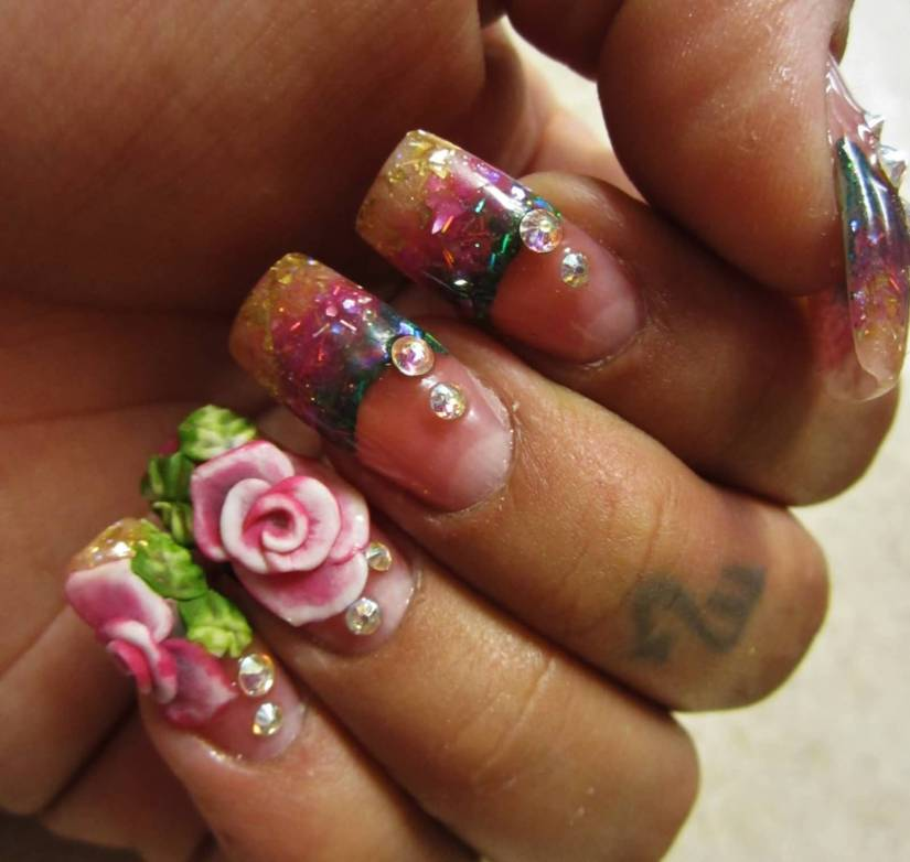 Most Trending Crystal Color 3D Rose Flower Nail Art