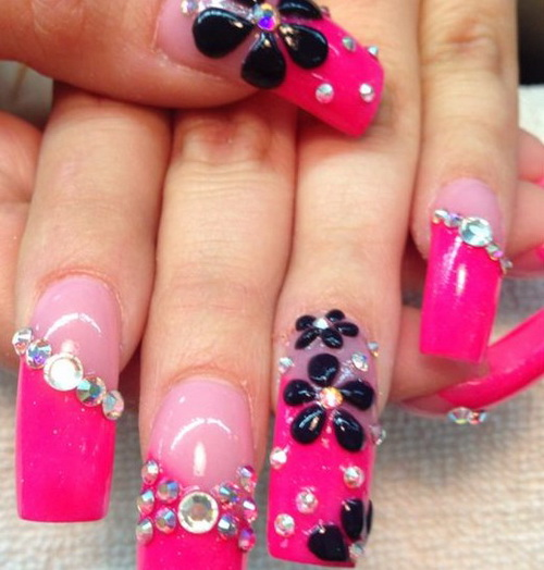Most Trending Pink nail With Black Flower Pink Acrylic Nail Design