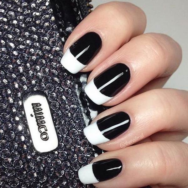 Most Ultimate White Tip With Full Black Nails Black And White Nail Art