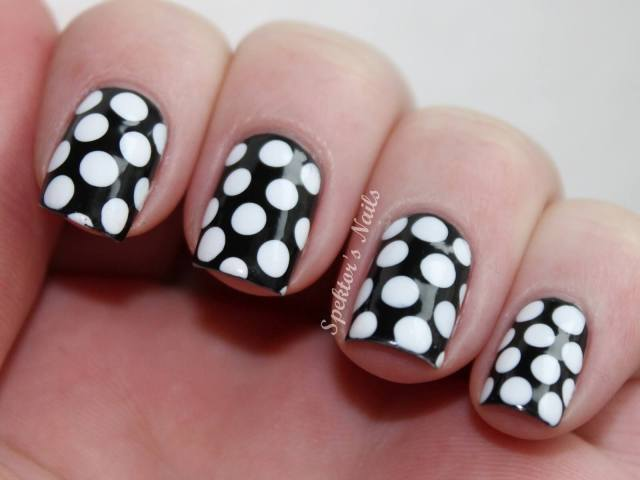 Most Wonderful Black And White Polka Dot Nail Art On Full Nails