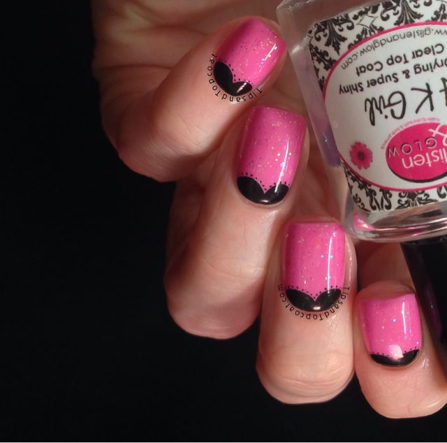 Most Wonderful Black Half Moon Nail With Pink Nail
