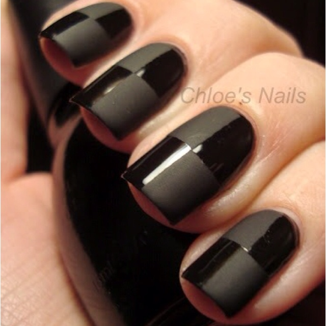 Most Wonderful Black Matte Nails With Chess Shape Design