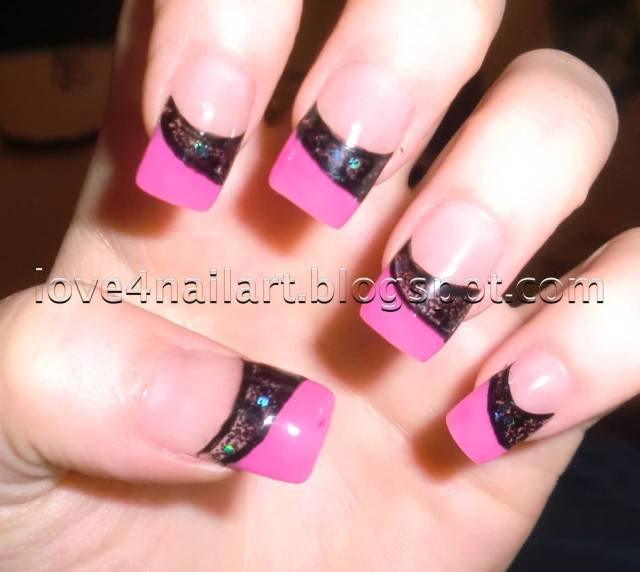 Most phenomenal Pink tip With BLack Color Paint Pink Acrylic Nail Design