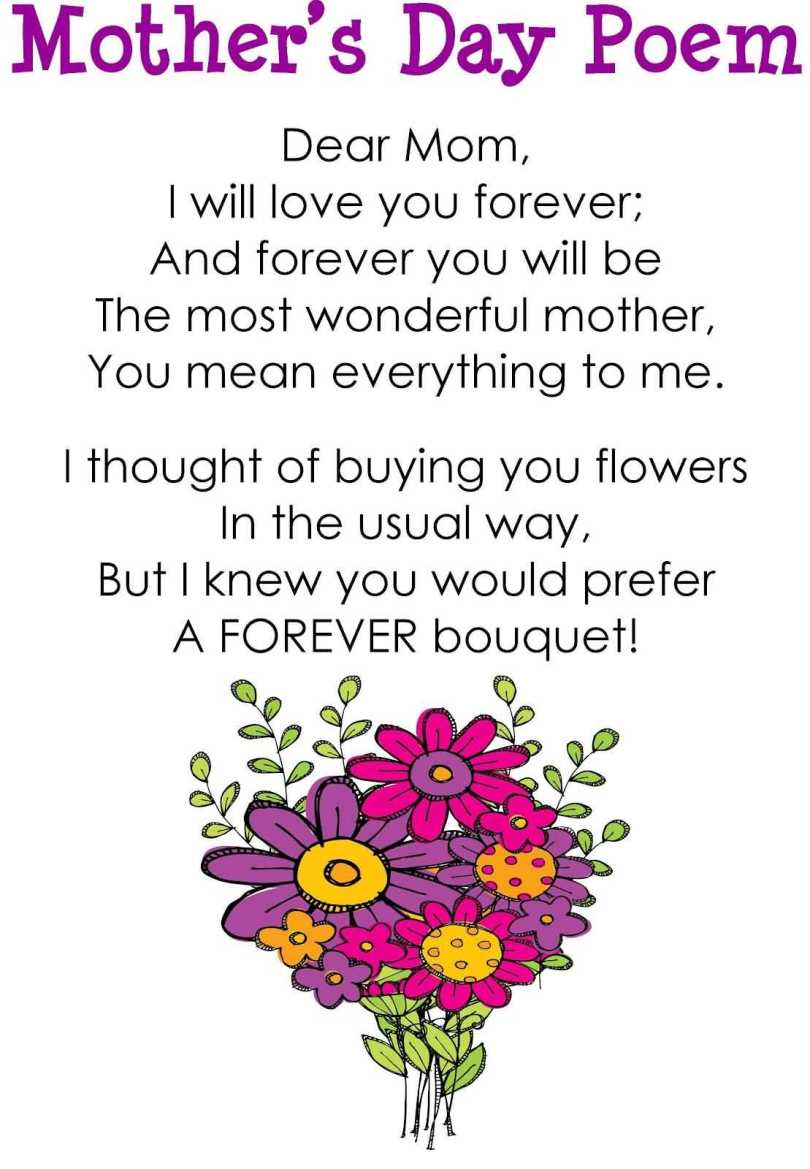 Mother's Day Poem Dear Mom I Love You Message Card Image