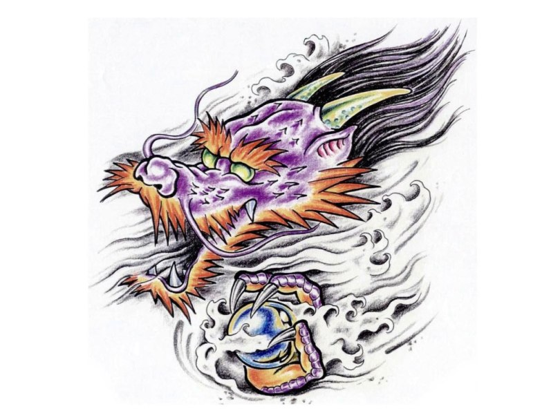 Motivational Cartoonized Dragon With Magic Ball Fantasy Tattoo Sketch For Boys