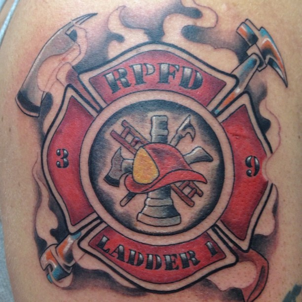 Motivational Firefighter Logo Tattoo Design For Boys