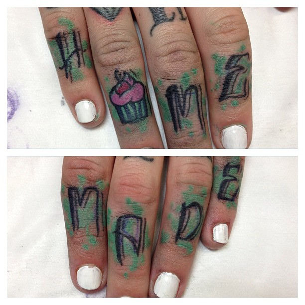 Motivational Home Made Tattoo On Fingers For Girls