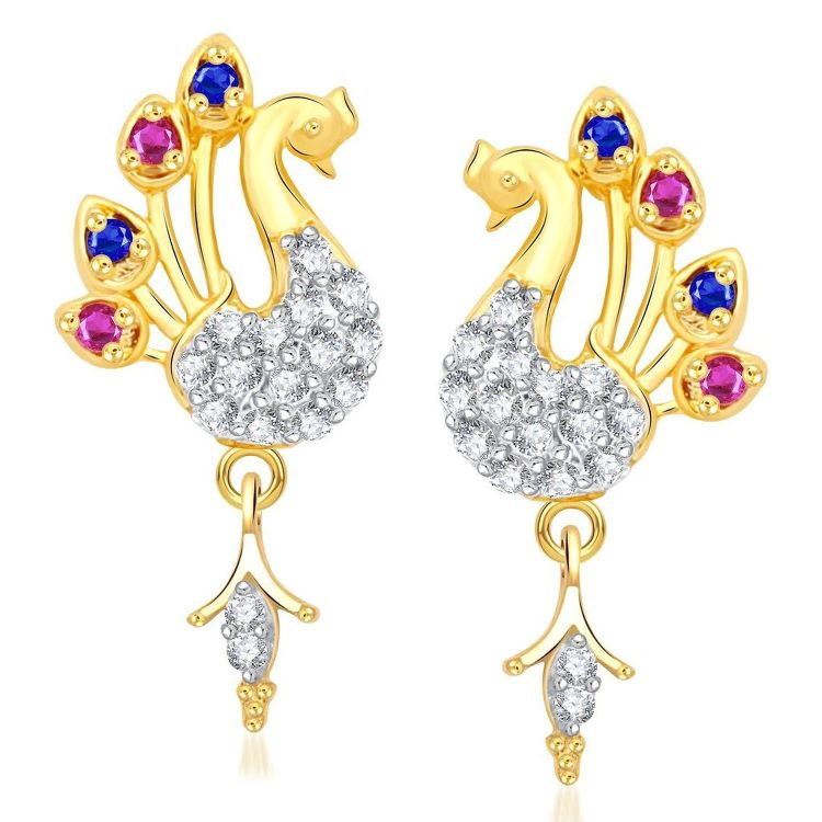 Multi Color Stones Peacock Gold Plated Earrings 001