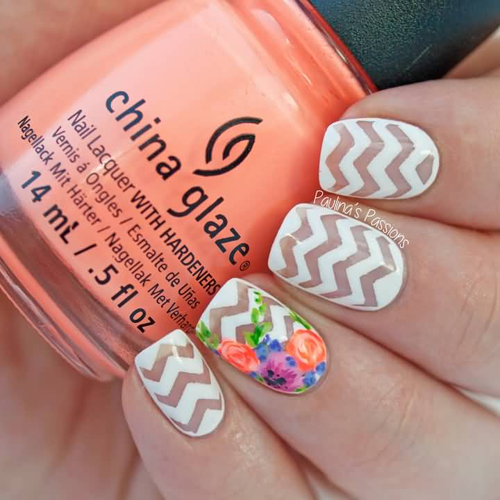 Natural And White Color Stripes Accent Nail Art