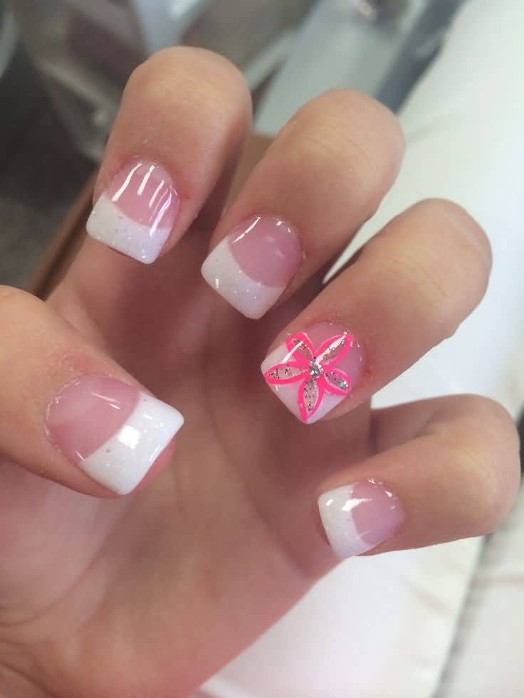 Natural Nail With Pink Color Flower Accent Nail Art