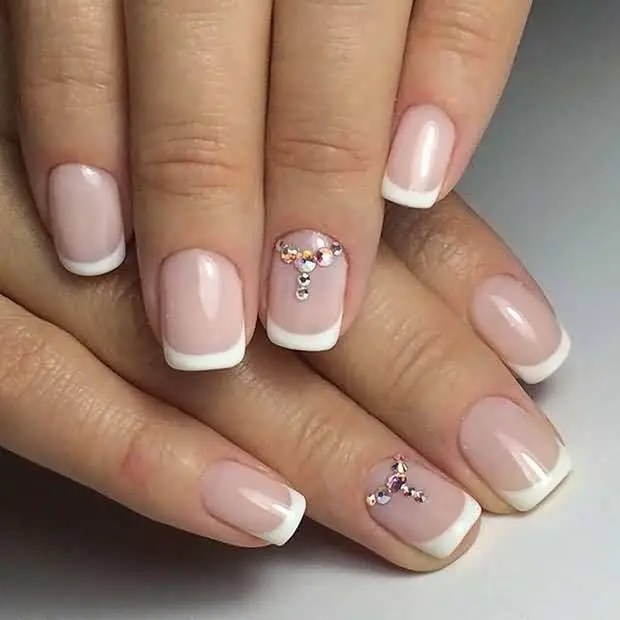 Natural Paint With Rhinestones Accent Nail Art