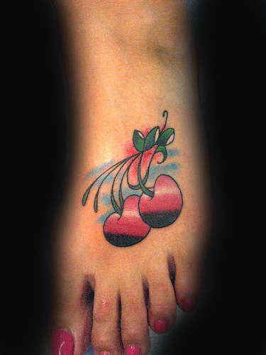Nice Cherries Tattoo Design On Foot For Girls