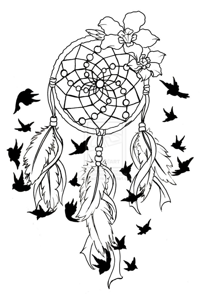 Nice Dream Catcher Birds Of A Feather Tattoo Design For Boys