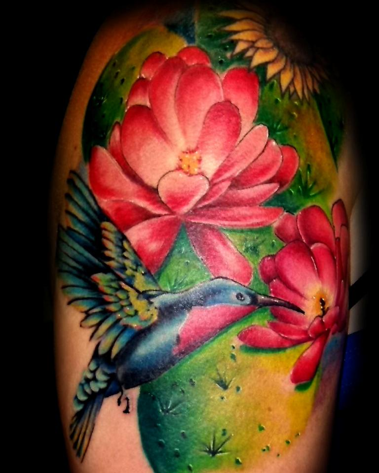 Nice Feminine Bird n Flowers Tattoo For Boys