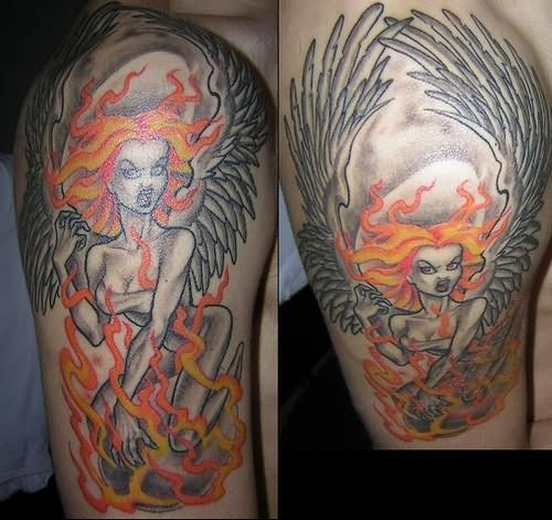 Nice Fire Angel Girl Tattoo Design For Boys