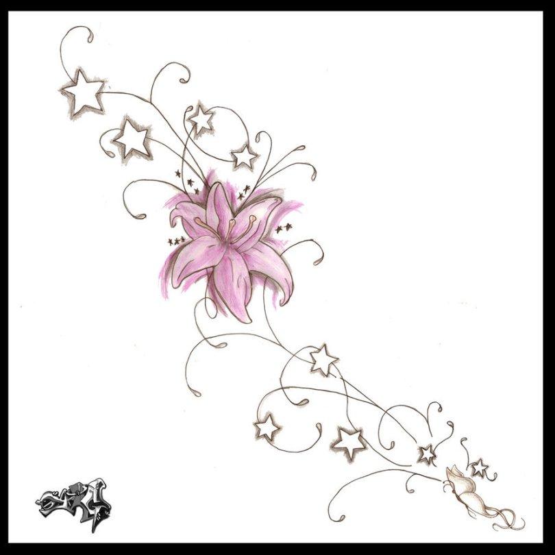 Nice Flowers n Stars Tattoo Designs For Boys