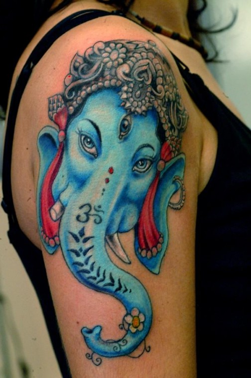 Nice Ganesha Tattoo On Shoulder For Girls