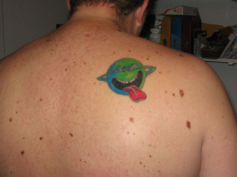 Nice Geek Tattoo On Back Shoulder For Boys