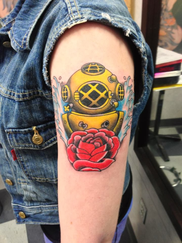 Nice Golden Diving Helmet And Rose Tattoos On Biceps For Boys