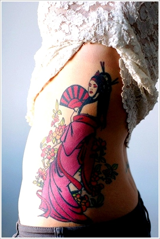 Out Standing Geisha Tattoo Design On Rib Side For Girls