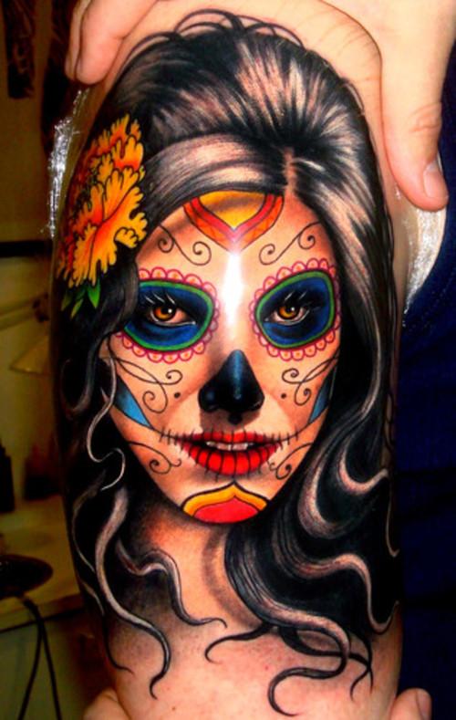 Passionate Dia De Los Muertos Tattoo For Boys