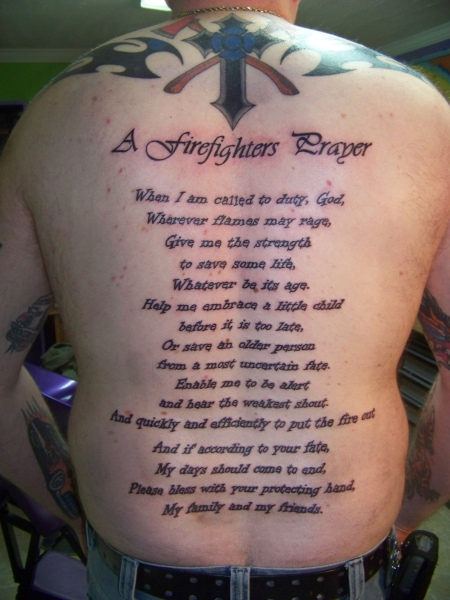 Passionate Firefighter's Prayer Tattoo On Back Of Body For Boys