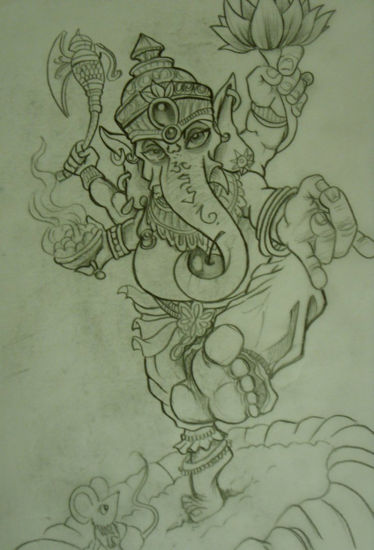 Passionate Ganesh Tattoo Sketch For Boys