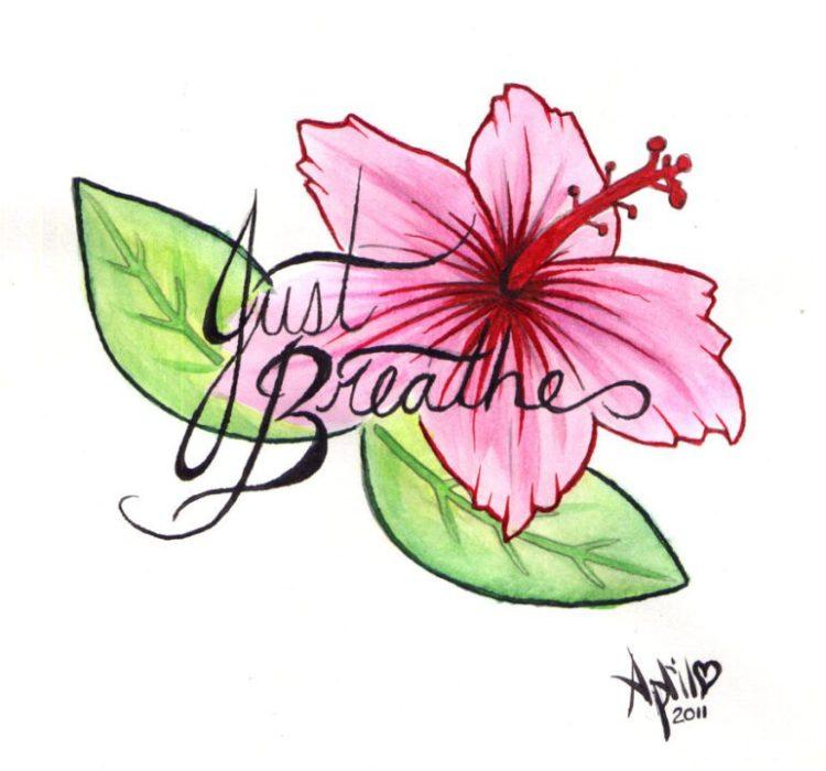 Passionate Hibiscus Tattoo Design For Girls