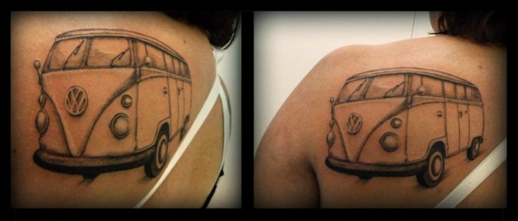 Passionate Hippie Bus Tattoo On Back For Girls