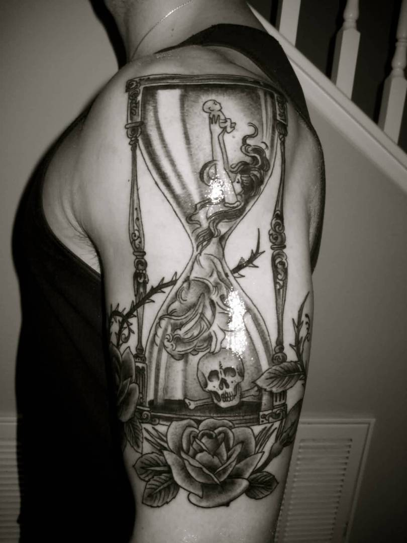Passionate Hourglass And Rose Tattoos On Biceps For Boys