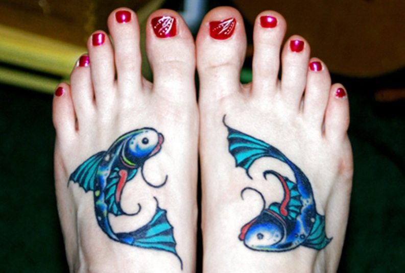 Passionate Pisces Foot Tattoo Design For Girls