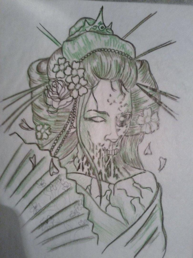 Perfect Dead Japanese Geisha Girl Tattoo Sketch For Tattoo Fans