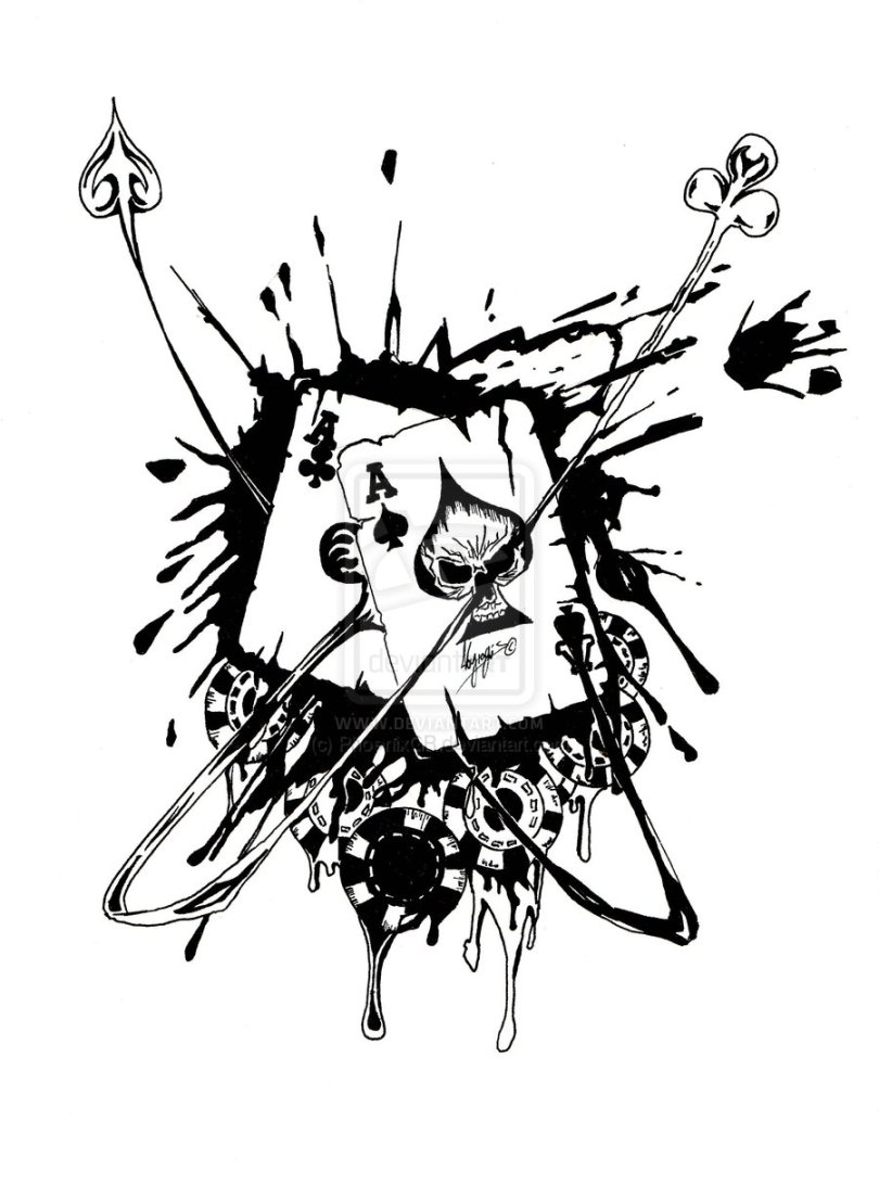 Perfect Gambling Playing Cards Tattoo Stencil For Boys
