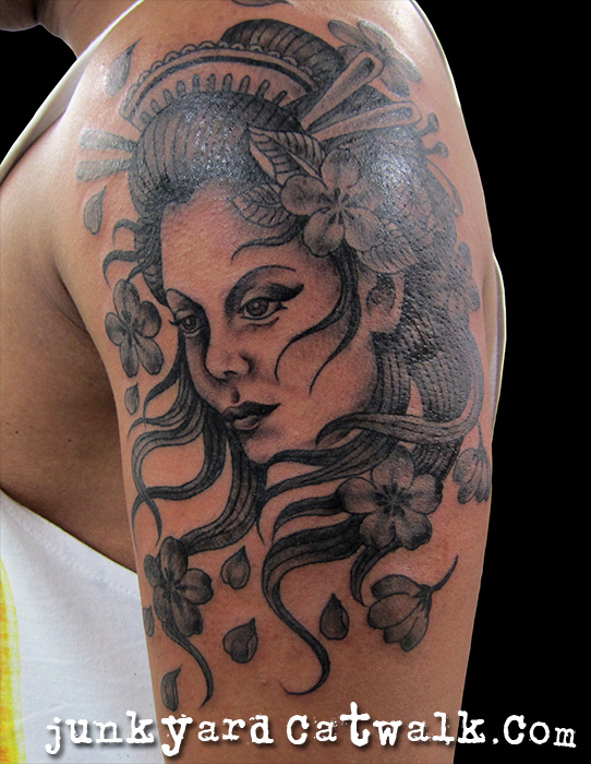 Perfect Geisha Head Tattoo On Shoulder For Boys